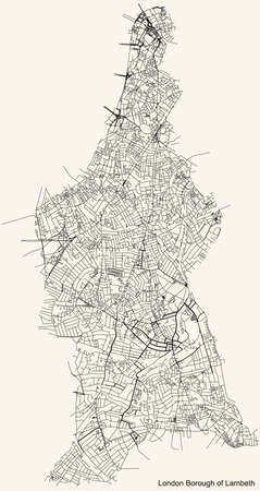 Black simple detailed street roads map on vintage beige background of the neighbourhood London Borough of Lambeth, England, United Kingdom Vettoriali