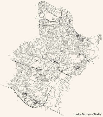 Black simple detailed street roads map on vintage beige background of the neighbourhood London Borough of Bexley, England, United Kingdom Vettoriali