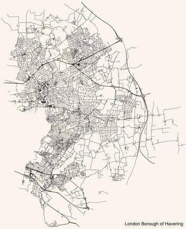 Black simple detailed street roads map on vintage beige background of the neighbourhood London Borough of Havering, England, United Kingdom