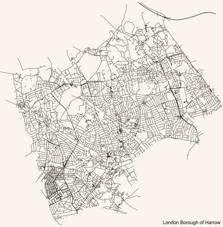 Black simple detailed street roads map on vintage beige background of the neighbourhood London Borough of Harrow, England, United Kingdom
