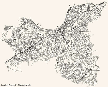 Black simple detailed street roads map on vintage beige background of the neighbourhood London Borough of Wandsworth, England, United Kingdom