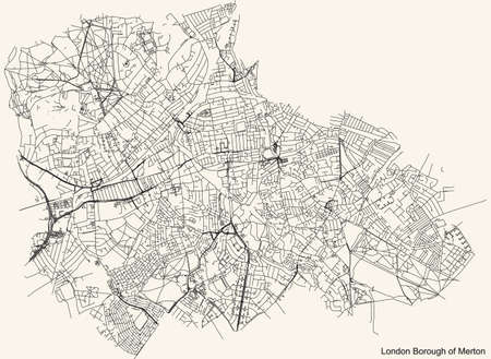 Black simple detailed street roads map on vintage beige background of the neighbourhood London Borough of Merton, England, United Kingdom