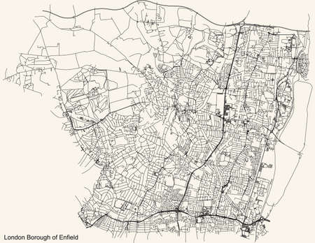 Black simple detailed street roads map on vintage beige background of the neighbourhood London Borough of Enfield, England, United Kingdom Vettoriali