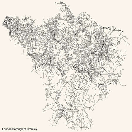 Black simple detailed street roads map on vintage beige background of the neighbourhood London Borough of Bromley, England, United Kingdom