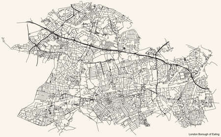 Black simple detailed street roads map on vintage beige background of the neighbourhood London Borough of Ealing, England, United Kingdom