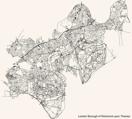 Black simple detailed street roads map on vintage beige background of the neighbourhood London Borough of Richmond upon Thames, England, United Kingdom