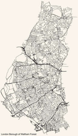 Black simple detailed street roads map on vintage beige background of the neighbourhood London Borough of Waltham Forest, England, United Kingdom Vettoriali