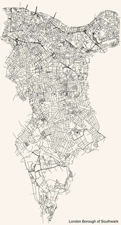 Black simple detailed street roads map on vintage beige background of the neighbourhood London Borough of Southwark, England, United Kingdom Vettoriali