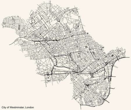 Black simple detailed street roads map on vintage beige background of the neighbourhood London Borough City of Westminster, England, United Kingdom Vettoriali
