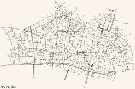 Black simple detailed street roads map on vintage beige background of the neighbourhood City of London, England, United Kingdom