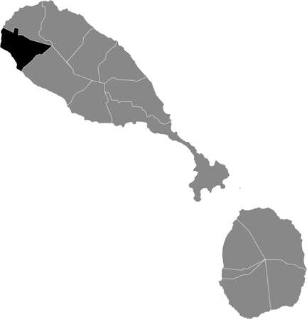 Black location map of Kittitian and Nevisian Saint Anne Sandy Point parish inside gray map of Saint Kitts and Nevis Vettoriali