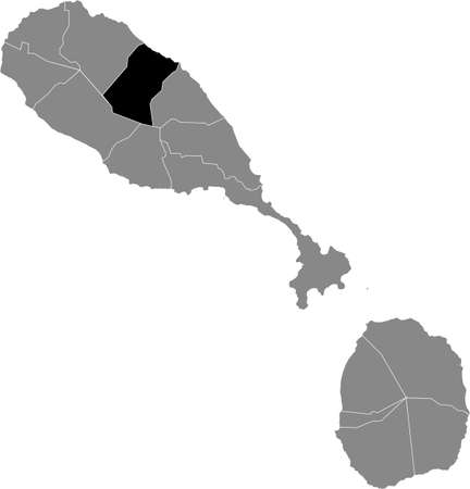 Black location map of Kittitian and Nevisian Christ Church Nichola Town parish inside gray map of Saint Kitts and Nevis
