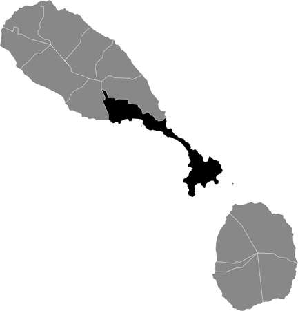 Black location map of Kittitian and Nevisian Saint George Basseterre parish inside gray map of Saint Kitts and Nevis Vettoriali