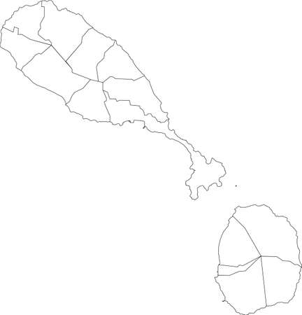 White vector map of Saint Kitts and Nevis with black borders of it's parishes Vettoriali