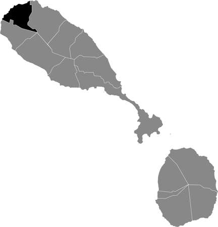 Black location map of Kittitian and Nevisian Saint Paul Capisterre parish inside gray map of Saint Kitts and Nevis