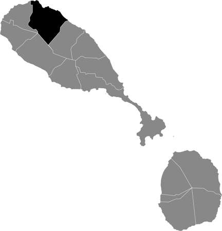 Black location map of Kittitian and Nevisian Saint John Capisterre parish inside gray map of Saint Kitts and Nevis Vettoriali