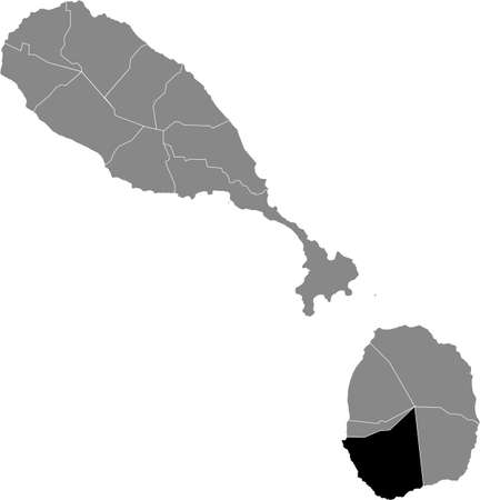 Black location map of Kittitian and Nevisian Saint John Figtree parish inside gray map of Saint Kitts and Nevis