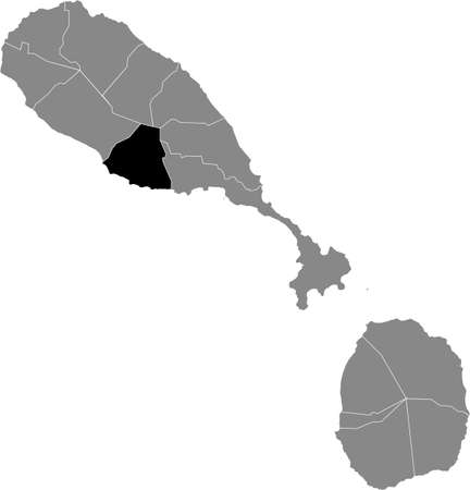 Black location map of Kittitian and Nevisian Trinity Palmetto Point parish inside gray map of Saint Kitts and Nevis