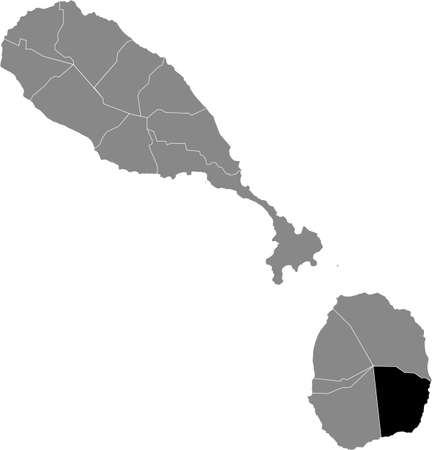 Black location map of Kittitian and Nevisian Saint George Gingerland parish inside gray map of Saint Kitts and Nevis
