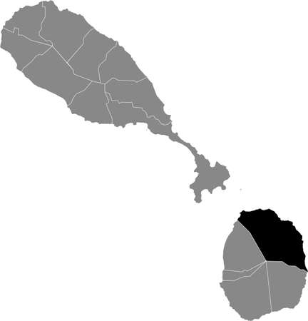 Black location map of Kittitian and Nevisian Saint James Windward parish inside gray map of Saint Kitts and Nevis