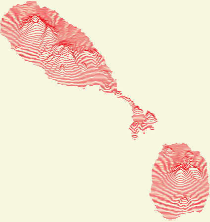 Topographic map of Saint Kitts and Nevis with red contour lines and baige background