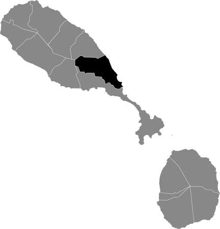 Black location map of Kittitian and Nevisian Saint Peter Basseterre parish inside gray map of Saint Kitts and Nevis Vettoriali