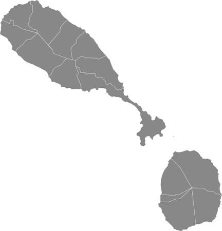 Gray vector map of Saint Kitts and Nevis with white borders of it's parishes
