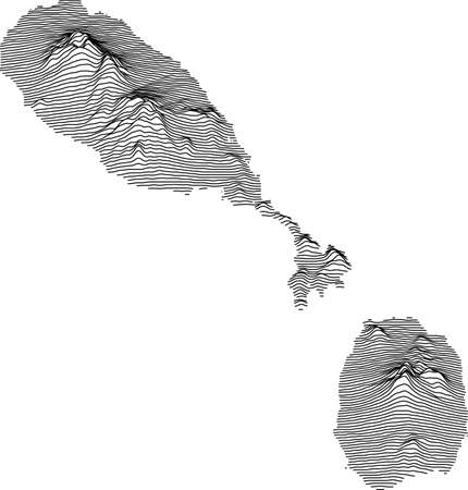 Topographic map of Saint Kitts and Nevis with black contour lines Vettoriali