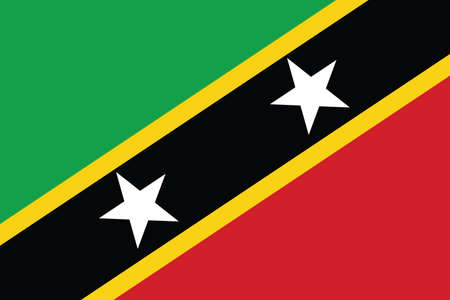 Official current vector flag of federal parliamentary constitutional monarchy of Saint Kitts and Nevis