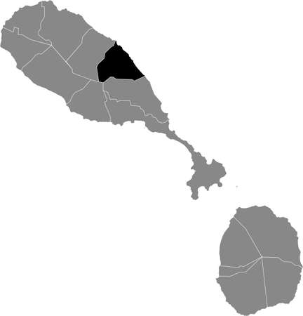 Black location map of Kittitian and Nevisian Saint Mary Cayon parish inside gray map of Saint Kitts and Nevis Vettoriali
