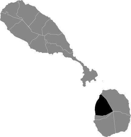 Black location map of Kittitian and Nevisian Saint Thomas Lowland parish inside gray map of Saint Kitts and Nevis
