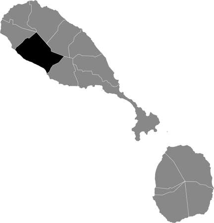 Black location map of Kittitian and Nevisian Saint Thomas Middle Island parish inside gray map of Saint Kitts and Nevis