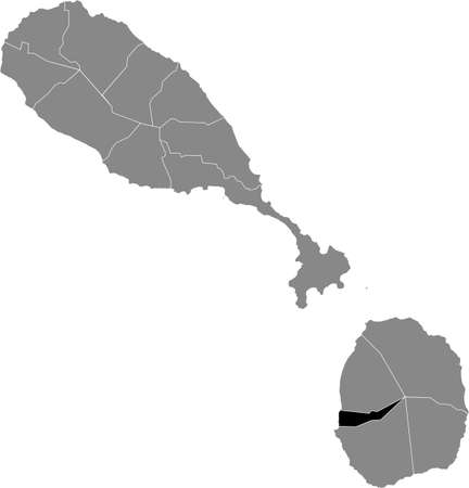 Black location map of Kittitian and Nevisian Saint Paul Charlestown parish inside gray map of Saint Kitts and Nevis Vettoriali