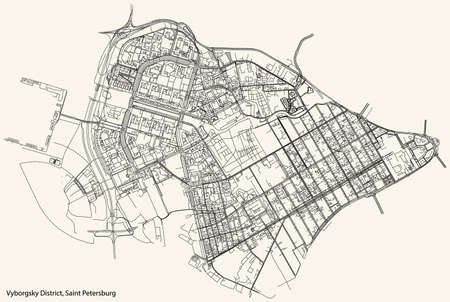 Black simple detailed street roads map on vintage beige background of the neighbourhood Vyborgsky District of Saint Petersburg, Russia