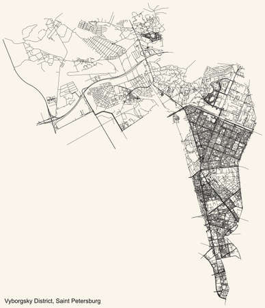 Black simple detailed street roads map on vintage beige background of the neighbourhood Vasileostrovsky District of Saint Petersburg, Russia