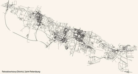 Black simple detailed street roads map on vintage beige background of the neighbourhood Petrodvortsovy District of Saint Petersburg, Russia Vettoriali