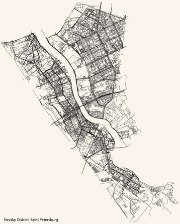 Black simple detailed street roads map on vintage beige background of the neighbourhood Nevsky District of Saint Petersburg, Russia