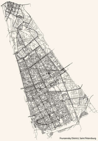 Black simple detailed street roads map on vintage beige background of the neighbourhood Frunzensky District of Saint Petersburg, Russia