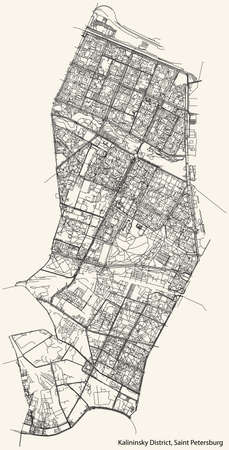 Black simple detailed street roads map on vintage beige background of the neighbourhood Kalininsky District of Saint Petersburg, Russia Vettoriali