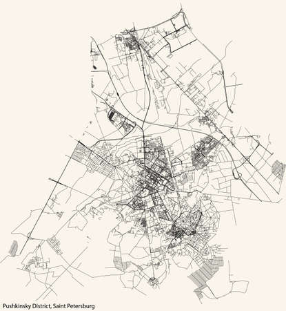 Black simple detailed street roads map on vintage beige background of the neighbourhood Pushkinsky District of Saint Petersburg, Russia
