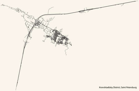 Black simple detailed street roads map on vintage beige background of the neighbourhood Kronshtadtsky District of Saint Petersburg, Russia