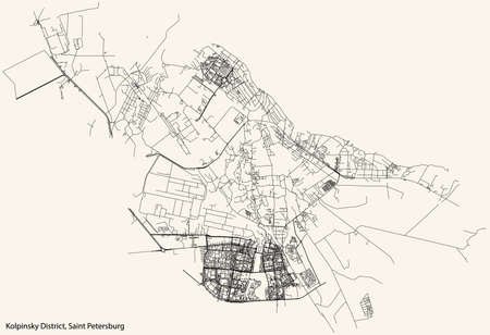 Black simple detailed street roads map on vintage beige background of the neighbourhood Kolpinsky District of Saint Petersburg, Russia