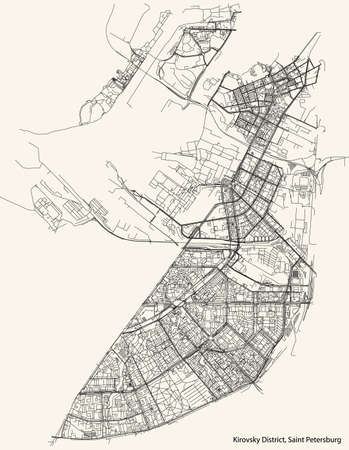 Black simple detailed street roads map on vintage beige background of the neighbourhood Kirovsky District of Saint Petersburg, Russia Vettoriali