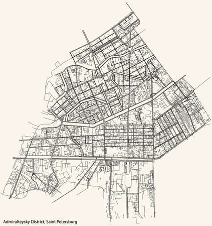 Black simple detailed street roads map on vintage beige background of the neighbourhood Admiralteysky District of Saint Petersburg, Russia Vettoriali