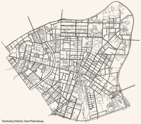 Black simple detailed street roads map on vintage beige background of the neighbourhood Tsentralny District of Saint Petersburg, Russia