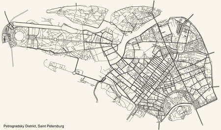 Black simple detailed street roads map on vintage beige background of the neighbourhood Petrogradsky District of Saint Petersburg, Russia