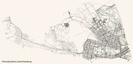 Black simple detailed street roads map on vintage beige background of the neighbourhood Primorsky District of Saint Petersburg, Russia