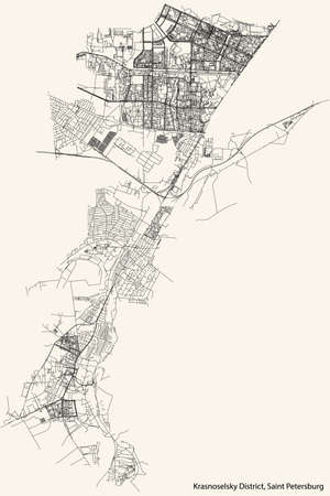 Black simple detailed street roads map on vintage beige background of the neighbourhood Krasnoselsky District of Saint Petersburg, Russia
