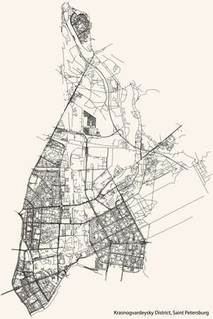 Black simple detailed street roads map on vintage beige background of the neighbourhood Krasnogvardeysky District of Saint Petersburg, Russia