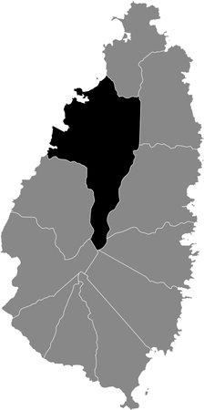 Black location map of Saint Lucian Castries quarter inside gray map of Saint Lucia